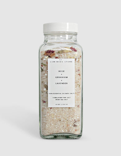 Luminous Stone Rose Geranium Lavender Bath Salts