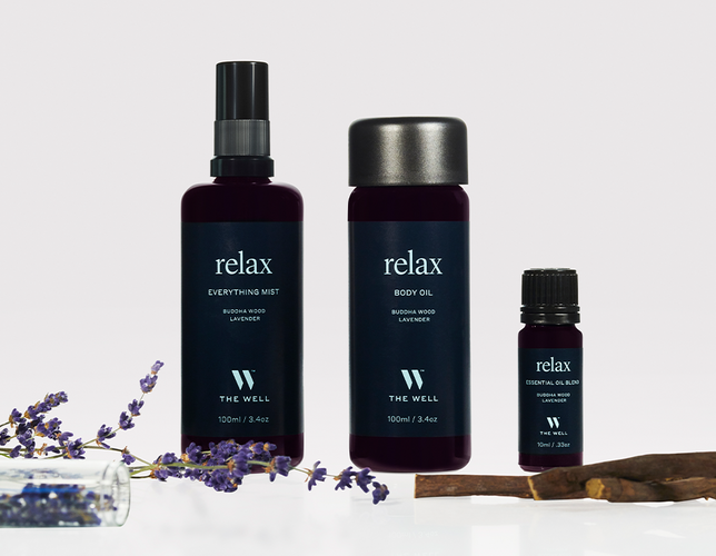 THE WELL Relax Bundle | Includes Everything Mist, Body Oil & Essential Oil Blend, Buddha Wood & Lavender