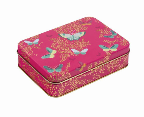 Gift tin - hot pink with butterflies