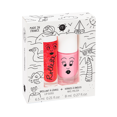 Nailmatic Lip and Nail gift set - Holidays (Strawberry gloss and Cookie polish) - KidsNails.ie