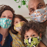 Soft organic cotton facemasks in 4 sizes: kids, teens, women, and men
