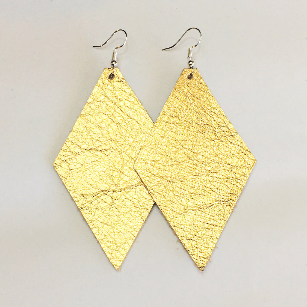 Gold Metallic Earrings - Diamond