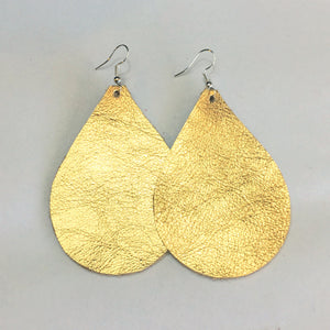 Gold Metallic Earrings Large - Teardrop