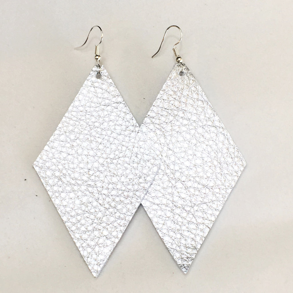 Silver Metallic Earrings - Diamonds