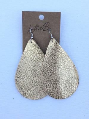 Metallic Gold Leather Earrrings- Large Egg