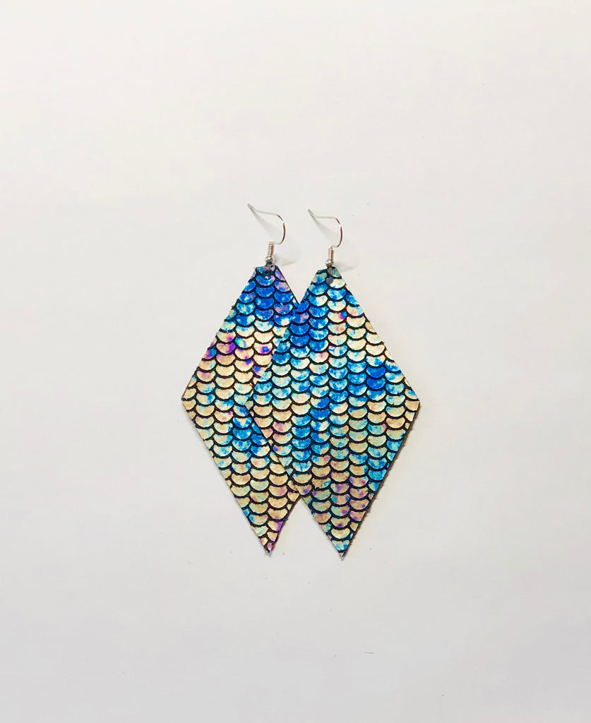 Mermaid Leather Earrings- Diamond
