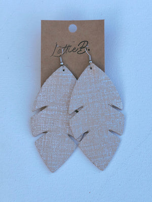 Beige and Silver Palm Leaf Earrings