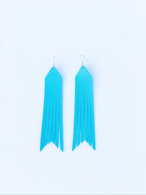 Teal- Courtney Leather Earrings