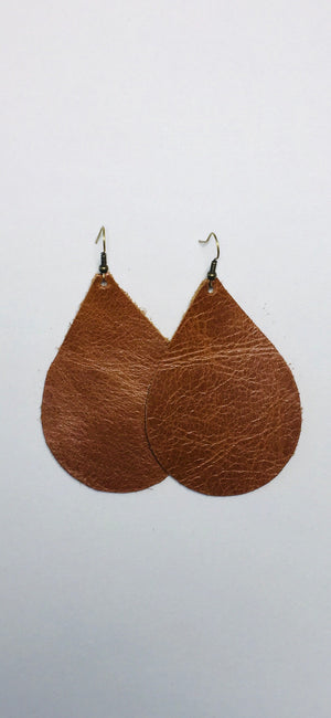 Brown Leather Earrings- Large Teardrop