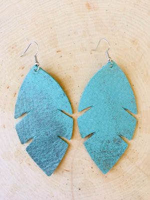 Palm Leaf Leather Earrings