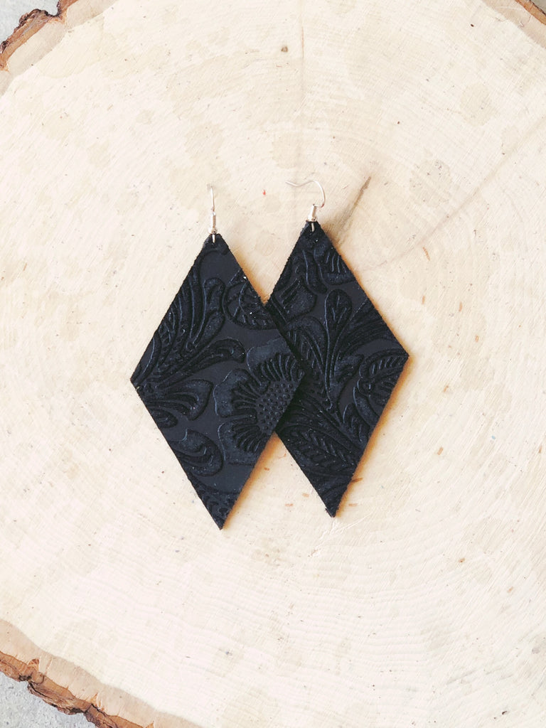 Black Floral Velvet Earrings- Diamond