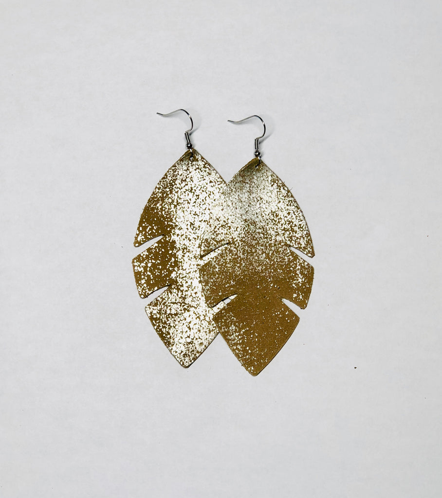 Palm Leaf Leather Earrings- Bronze Leather