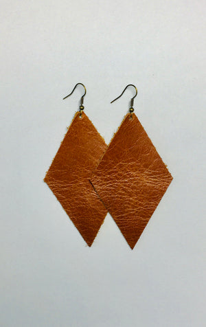 Brown Leather Earrings- Diamond