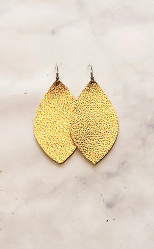 Metallic Gold Leather Earrings- Leaf
