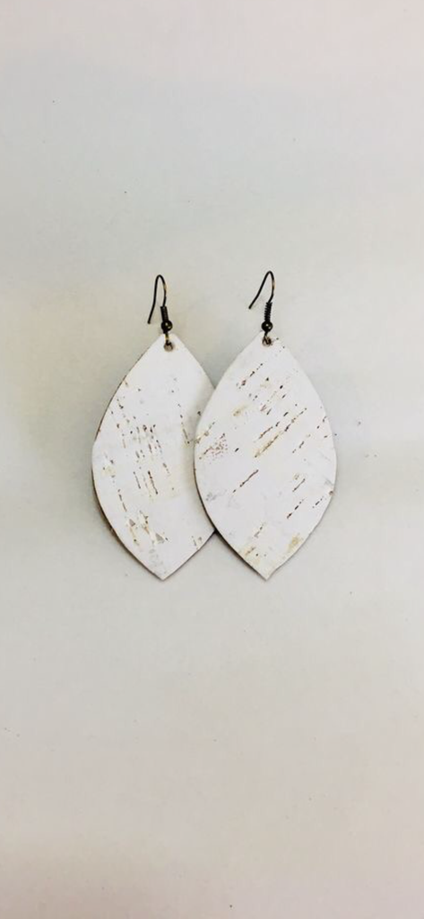 White Cork Earrings- Leaf