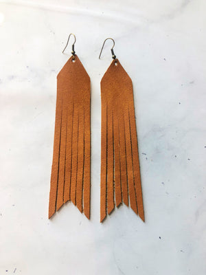Brown- Courtney Leather Earrings