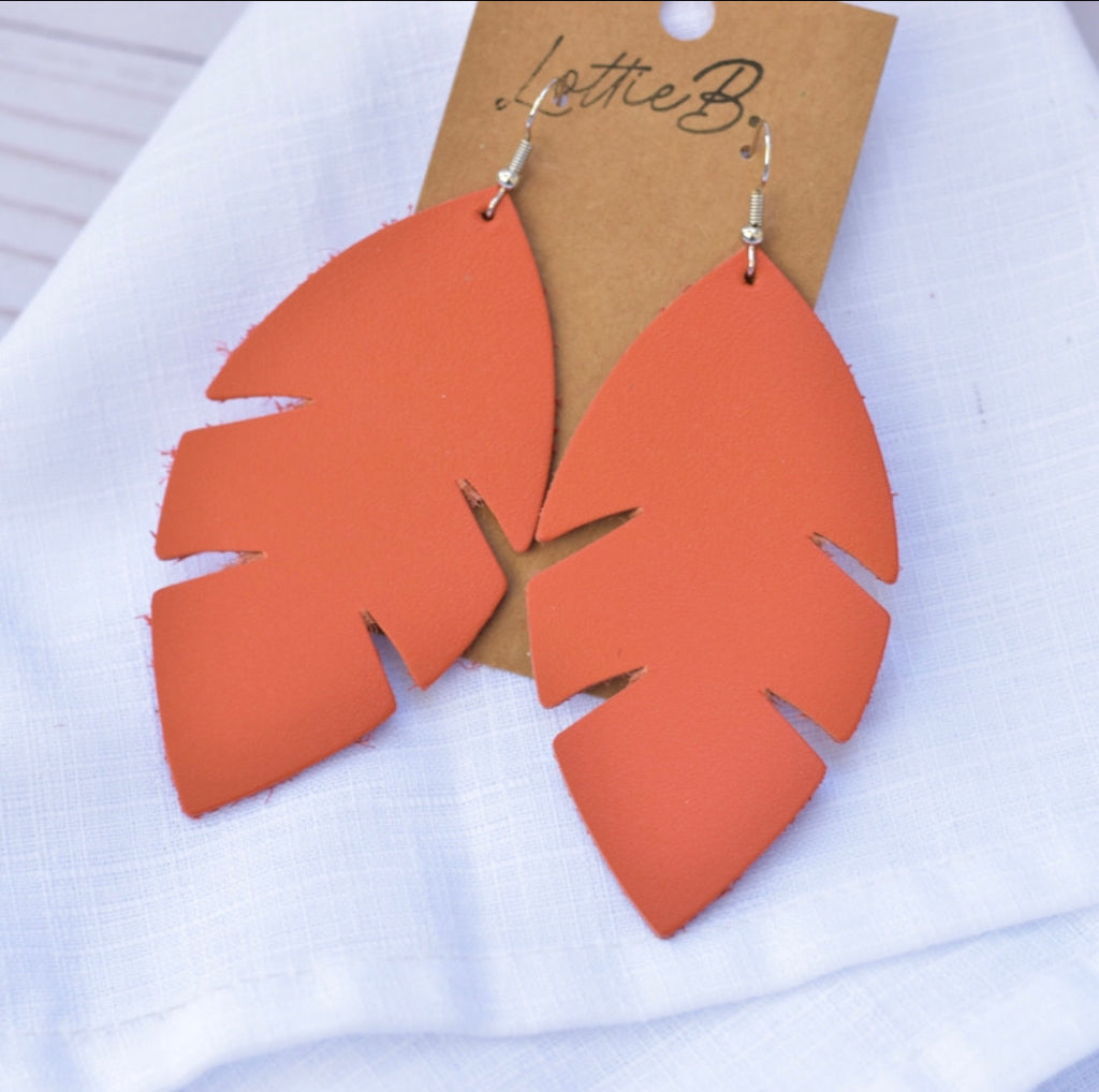 Palm Leaf Earrings- Coral Leather