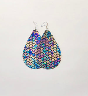 Mermaid Leather Earrings- Large Egg