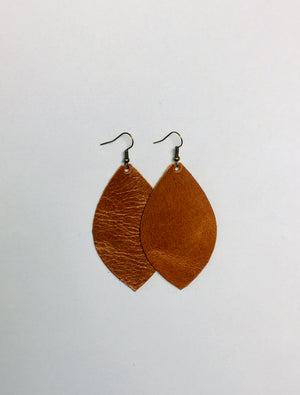 Brown Leather Earrings- Leaf