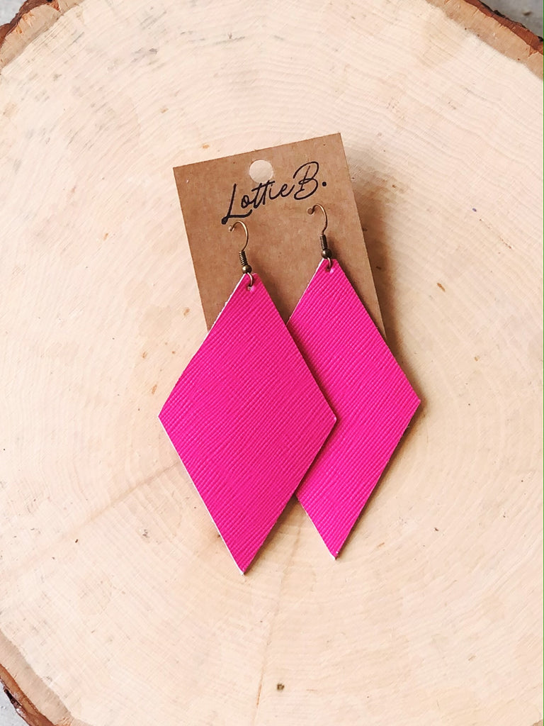 Pink Saffiano Leather Earrings- Diamond