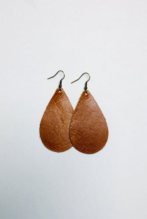 Brown Leather Earrings- Large Egg