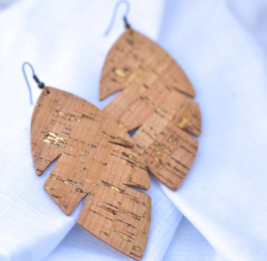 Palm Leaf Leather Earrings- Cork