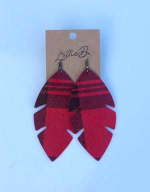 Red Palm Leaf Earrings