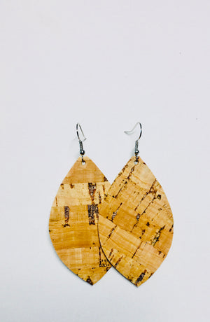 Cork Leather Earrings- Leaf Rose Gold