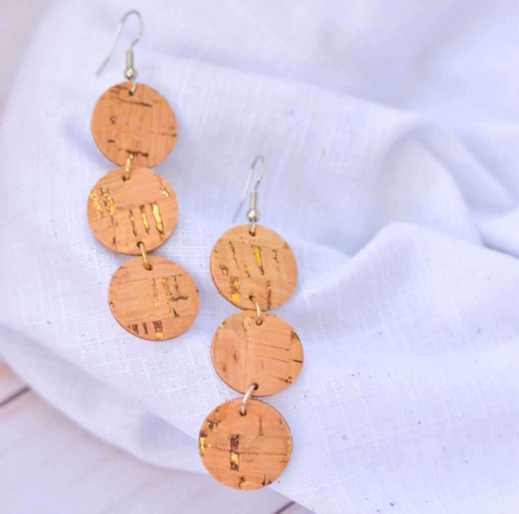Cork Dottie Leather Earrings