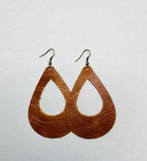 Brown Leather Earrings- Egg-In-A-Hole