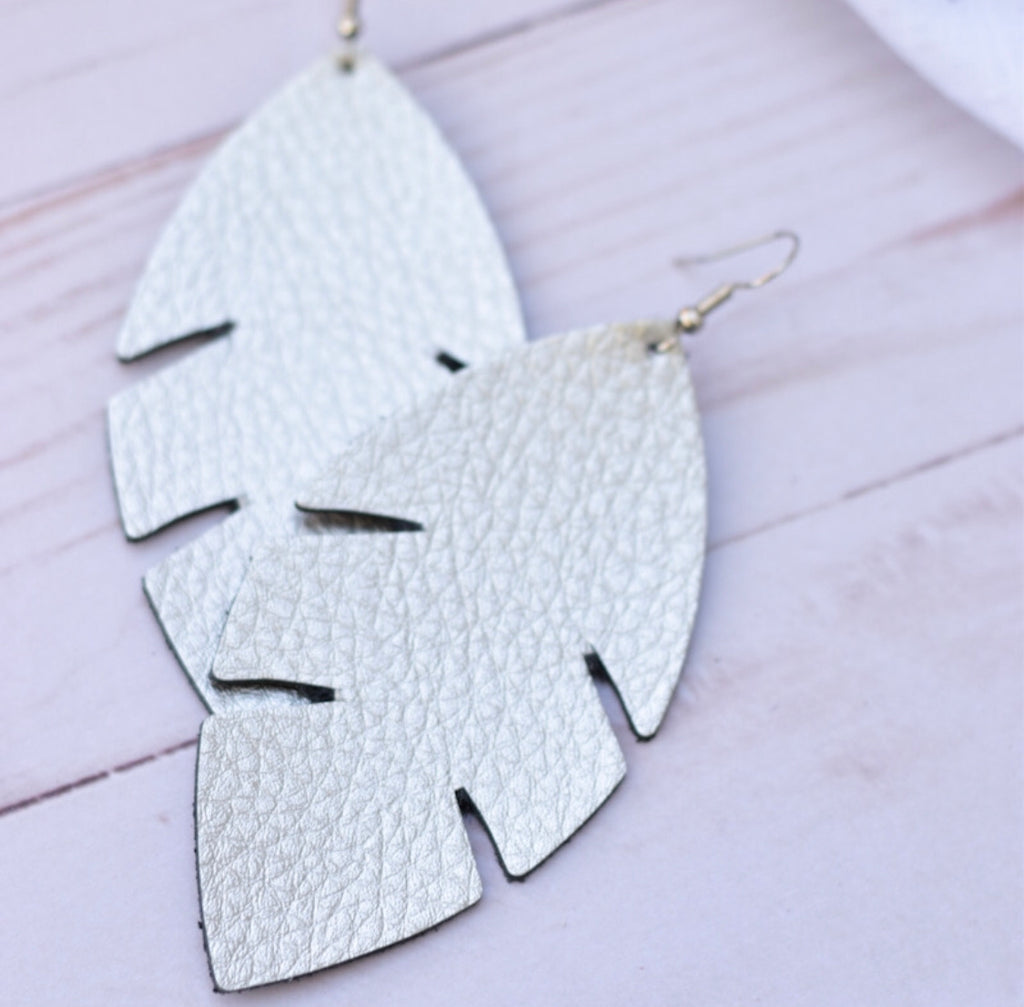 Silver Palm Leaf Leather Earrings