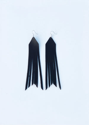 Black- Courtney Leather Earrings
