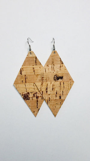 Cork Leather Earrings- Diamond Rose Gold