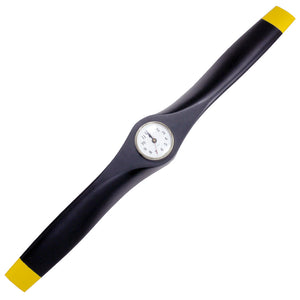 PJO3 26 Inch Propeller Clock Wall Decor (Matte Black with Yellow Tips)