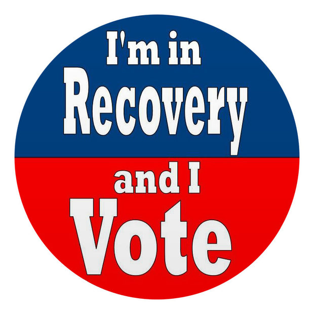 """I'm in Recovery and I Vote "" Lapel Stickers (roll of 500)"