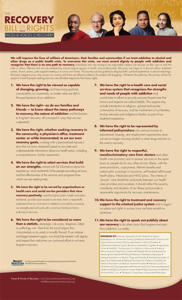 "The Recovery Bill of Rights 8.5"" x 14"" posters (pack of 5)"