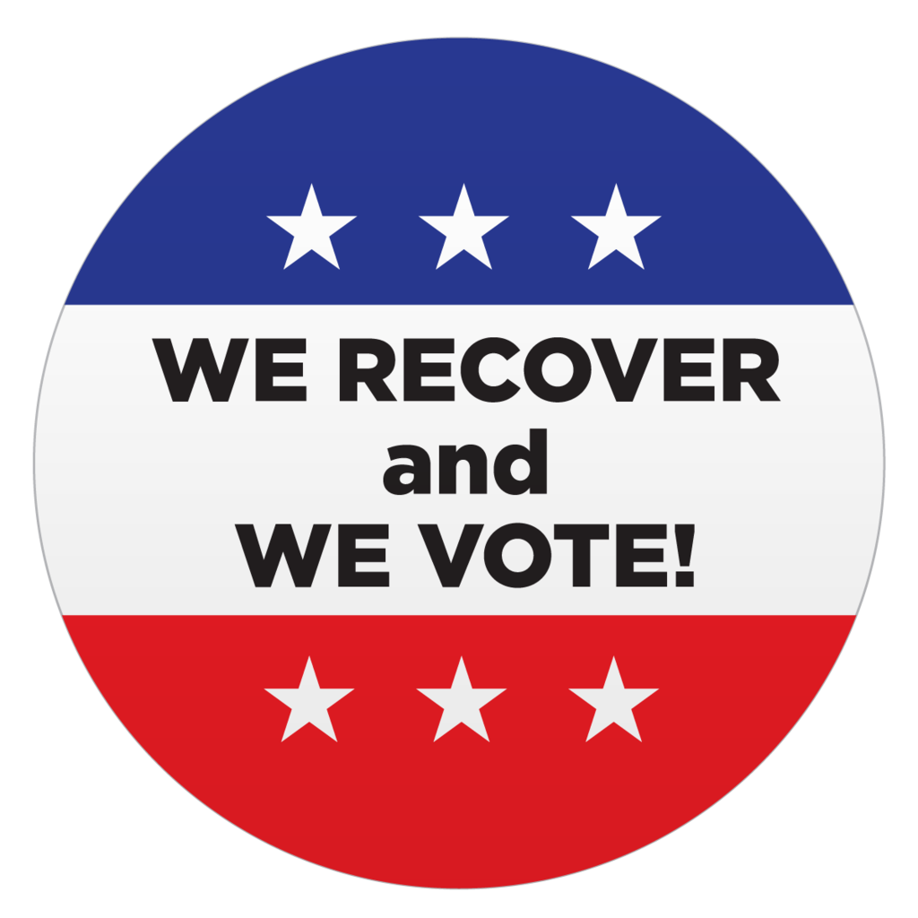 """We Recover and We Vote "" Lapel Stickers (Roll of 500)"