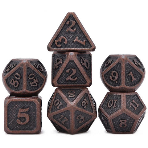 7-piece, Antique styled Copper Metal Dice with Pouch
