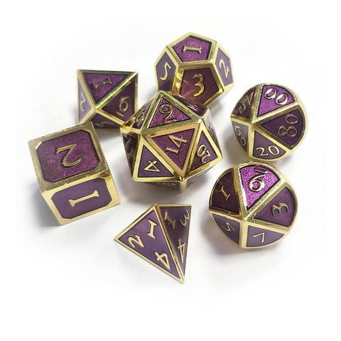 7-piece Metal Polyhedral Dice in a variety of colors