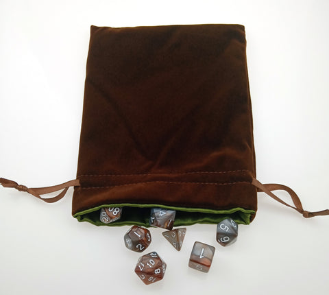 Copper and Steel Dice Set with matching bag