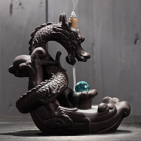 Fire Breathing Dragon Incense Burner with Crystal Ball + 20 Incense Cones