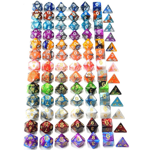 7-pc set of Polyhedral Dice in a variety of colors Dice