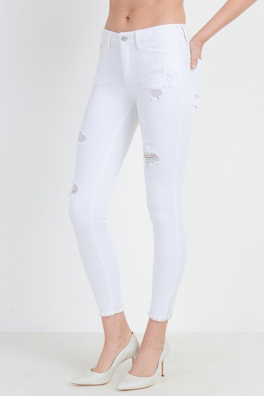 Destroyed High Rise Skinny Jeans