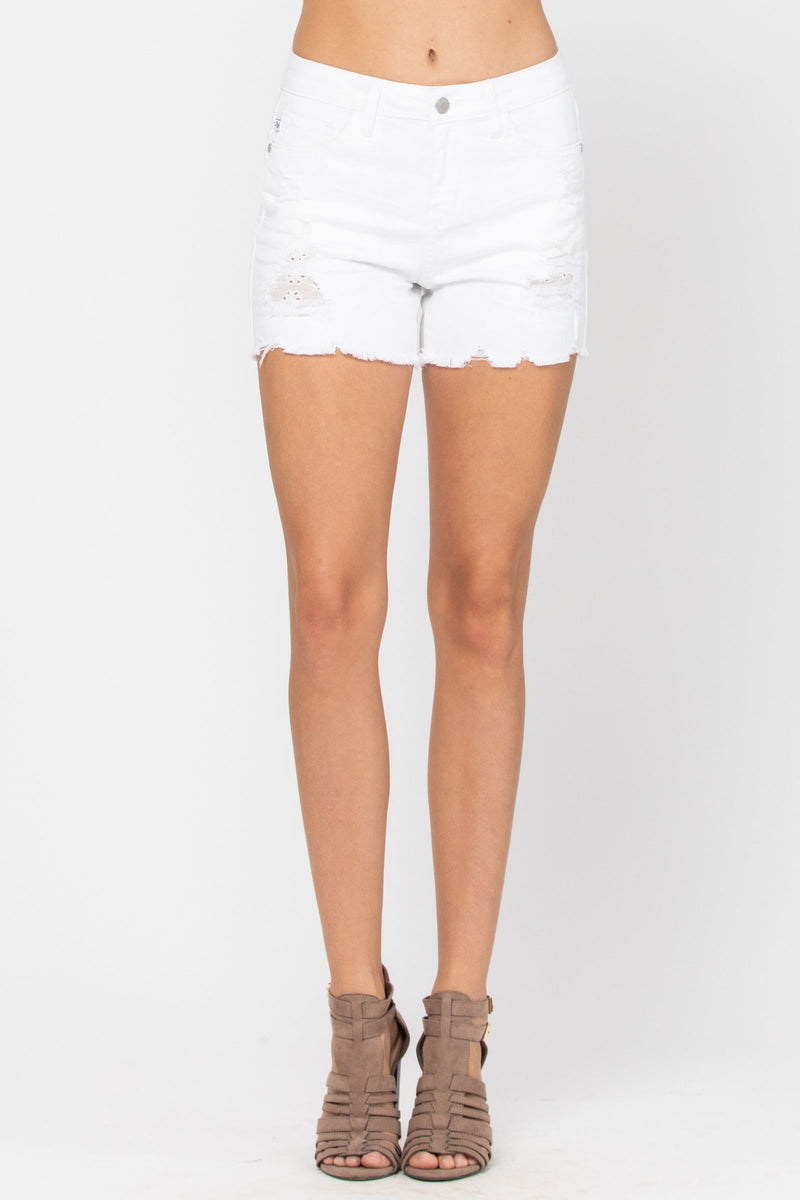 Judy Blue | White Lace Patch Destroyed Shorts