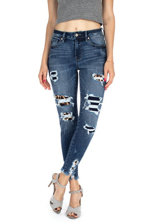 High Rise Patched Ankle Skinny