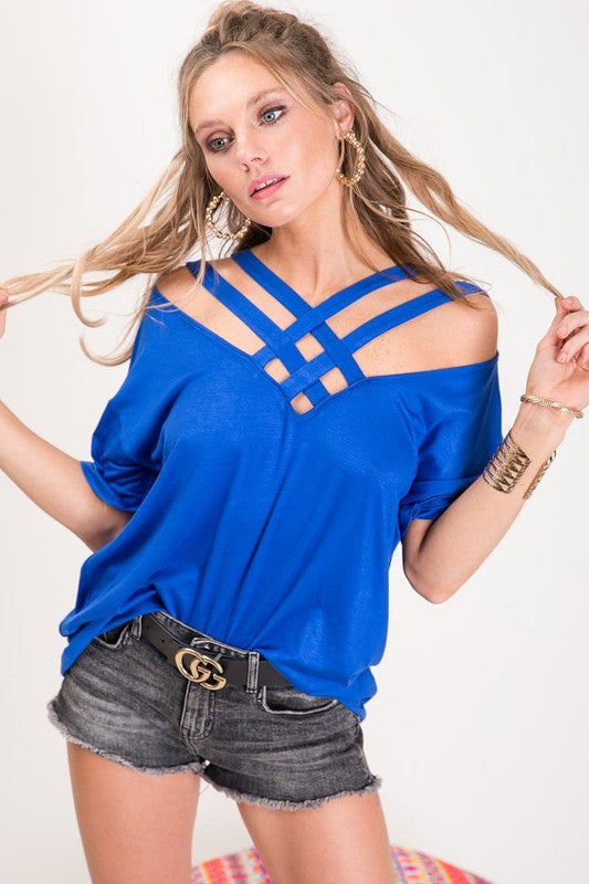 Jersey Knit Top with cross cross caged neck detail