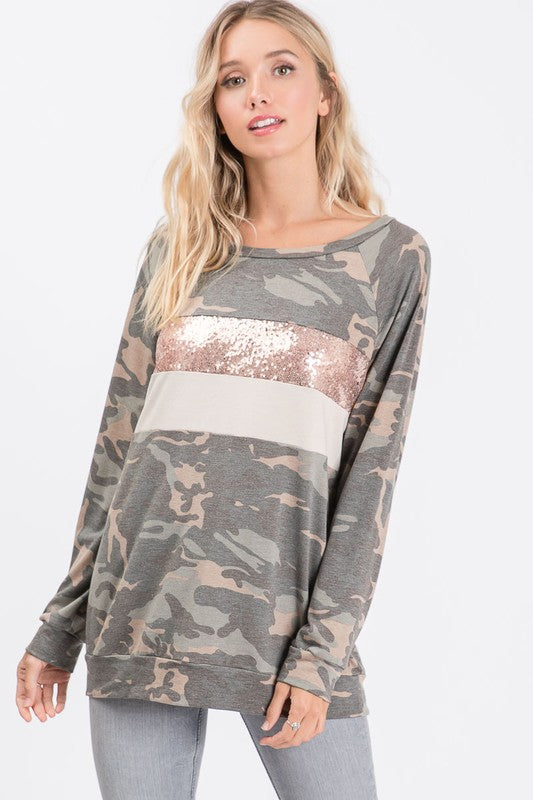 Camouflage Pull Over with Rose Gold