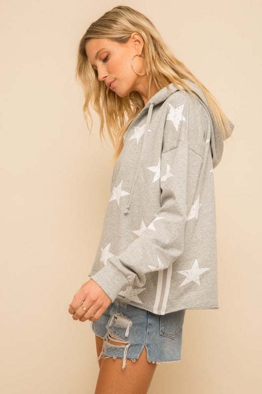 Star hoodie with side tape trim