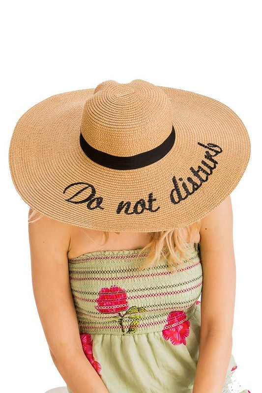 """Do Not Disturb"" Cursive Letters Embroidered Wide Brim Toyo Straw Floppy Sun Hat"