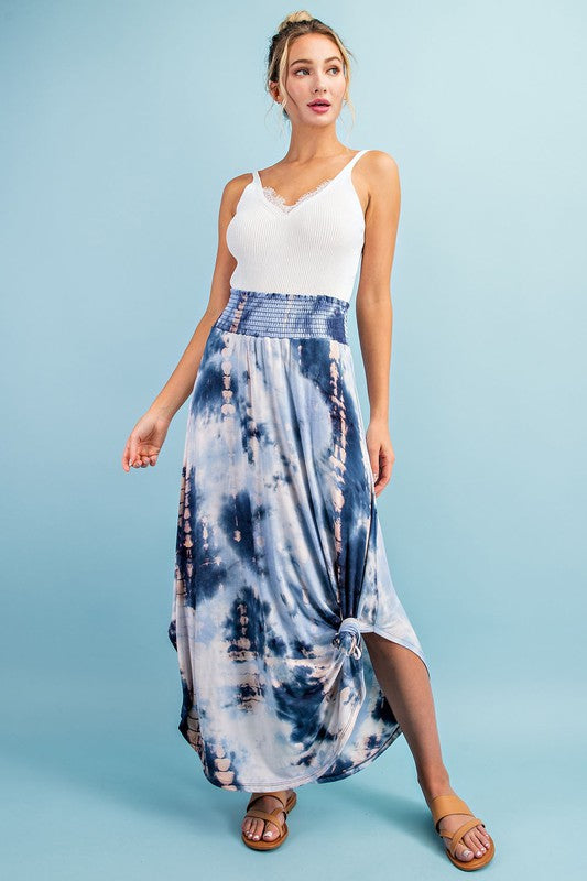 tie dye maxi skirt with pockets
